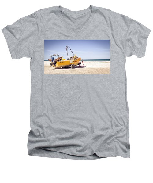 Boat And The Beach Men's V-Neck T-Shirt by Silvia Bruno