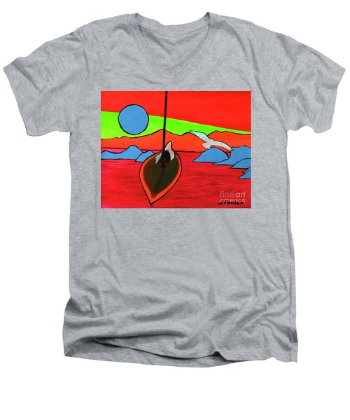 Boat, Bird And Moon Men's V-Neck T-Shirt by Jeanette French