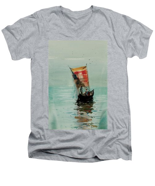 Boat Men's V-Neck T-Shirt by Helal Uddin