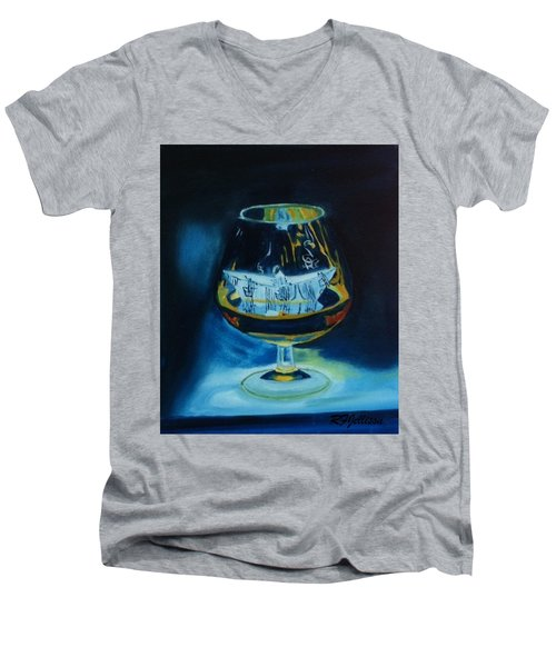 Men's V-Neck T-Shirt featuring the painting Boat In A Glass by Rod Jellison