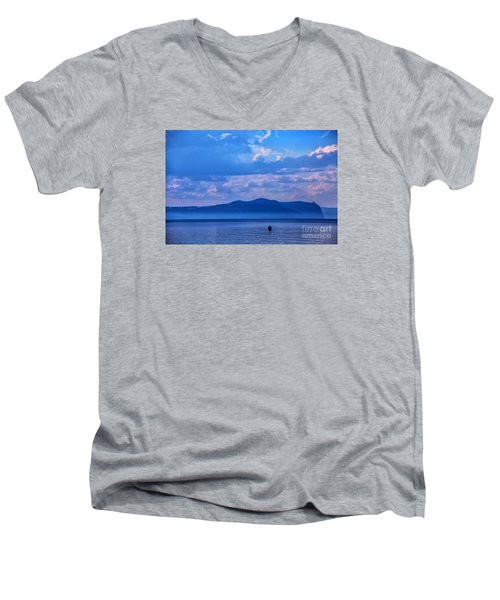 Men's V-Neck T-Shirt featuring the photograph Boat In Lake by Rick Bragan