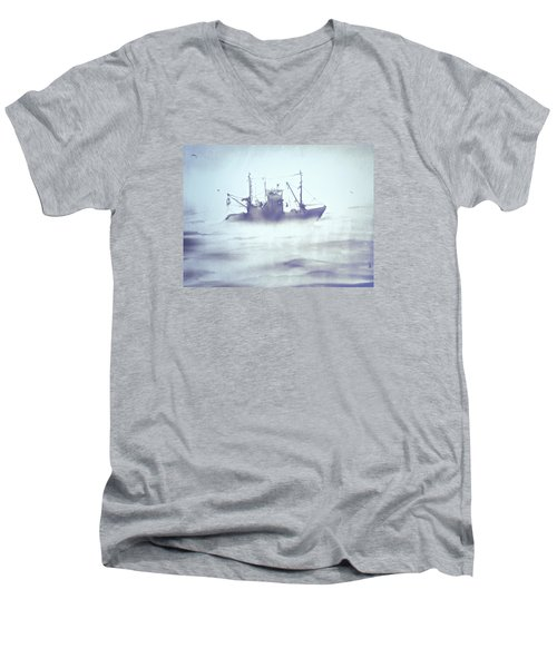 Boat In The Foggy Sea Men's V-Neck T-Shirt