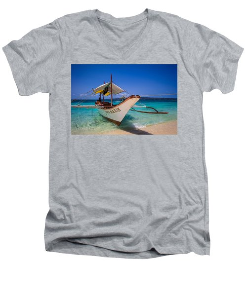 Boat On Boracay Island Men's V-Neck T-Shirt