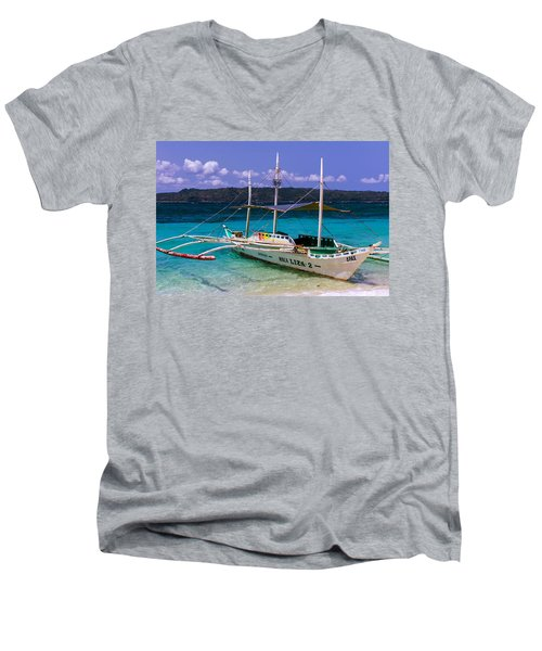 Boat On Puka Beach, Boracay Island, Philippines Men's V-Neck T-Shirt