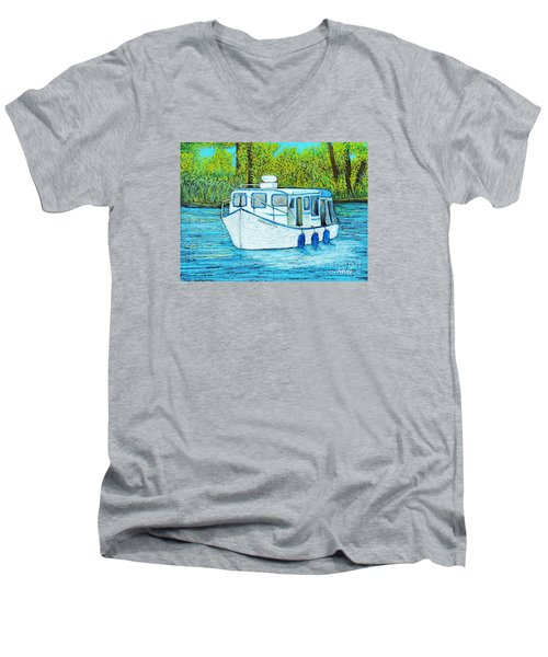 Boat On The River Men's V-Neck T-Shirt by Reb Frost