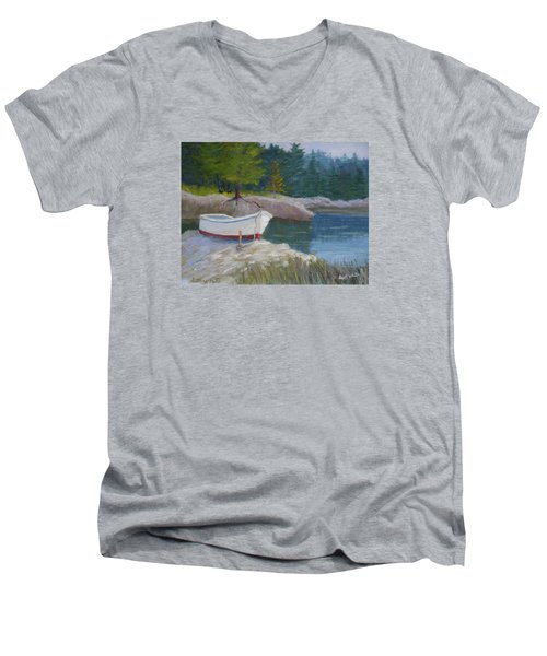 Boat On Tidal River Men's V-Neck T-Shirt