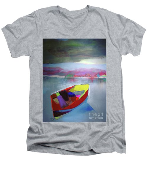 Boat On Whiskey Lake Men's V-Neck T-Shirt