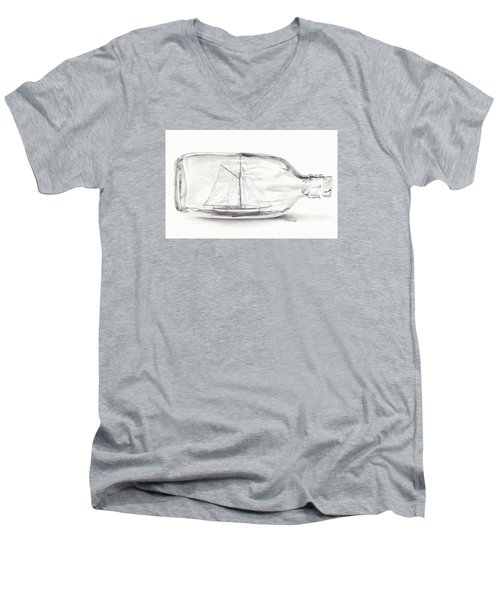 Men's V-Neck T-Shirt featuring the drawing Boat Stuck In A Bottle by Meagan  Visser