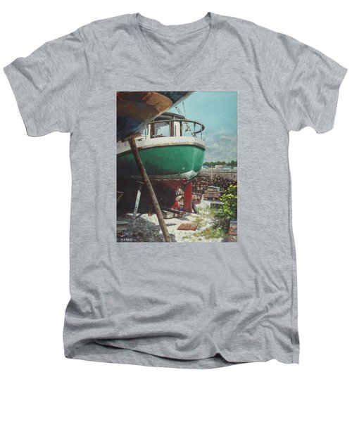 Boat Yard Boat 01 Men's V-Neck T-Shirt by Martin Davey