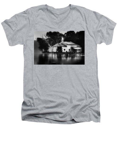 Men's V-Neck T-Shirt featuring the photograph Boathouse Bw by Bill Wakeley