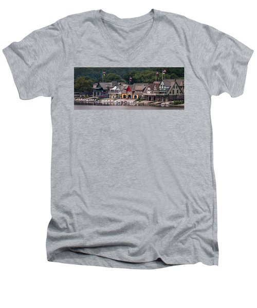 Boathouse Row Philadelphia Pa  Men's V-Neck T-Shirt by Terry DeLuco