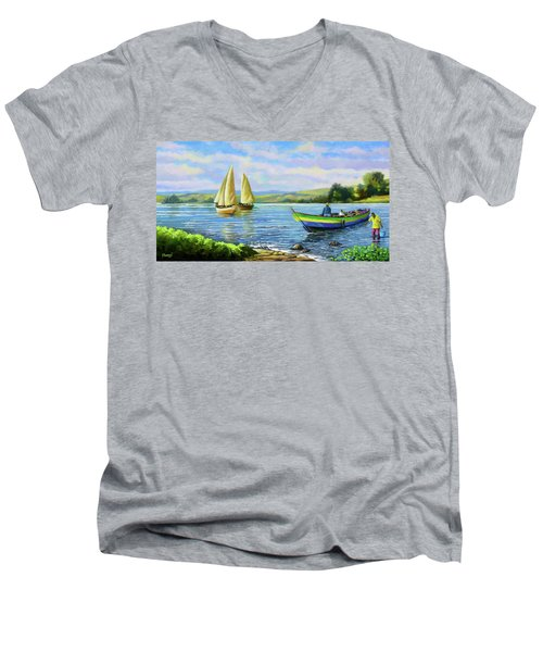 Men's V-Neck T-Shirt featuring the painting Boats At Lake Victoria by Anthony Mwangi