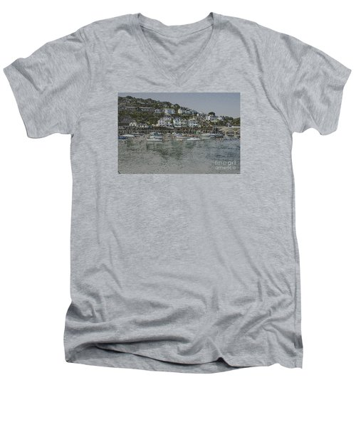 Men's V-Neck T-Shirt featuring the photograph Boats At Looe by Brian Roscorla