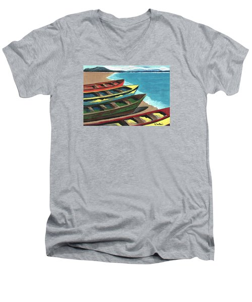 Men's V-Neck T-Shirt featuring the painting Boats In A Row by Kathleen Sartoris