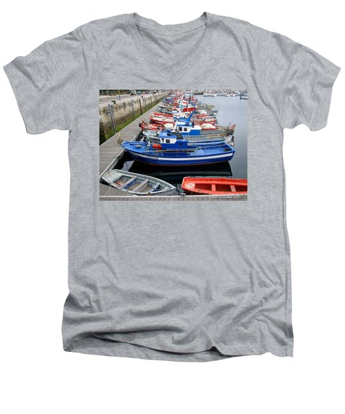 Men's V-Neck T-Shirt featuring the photograph Boats In Norway by Joan  Minchak