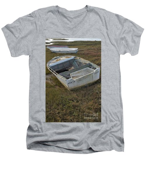 Boats In Ria Formosa Men's V-Neck T-Shirt by Angelo DeVal