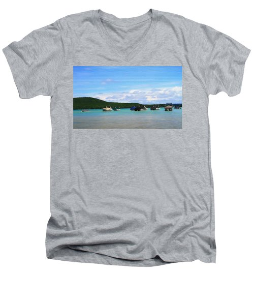 Boats In Sleeping Bear Bay Wood Texture Men's V-Neck T-Shirt by Dan Sproul