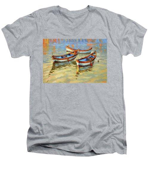 Boats In The Sunset Men's V-Neck T-Shirt by Dmitry Spiros