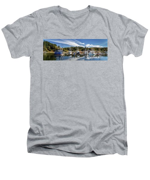 Men's V-Neck T-Shirt featuring the photograph Boats In Winchester Bay by James Eddy