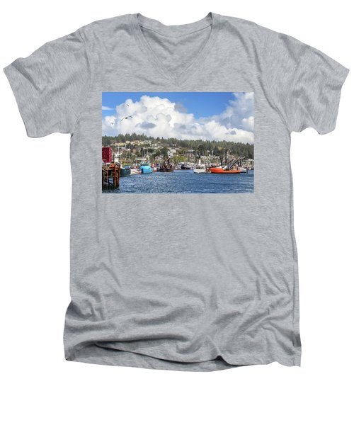 Boats In Yaquina Bay Men's V-Neck T-Shirt by James Eddy