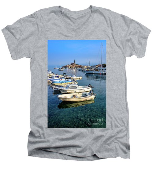 Boats Of The Adriatic, Rovinj, Istria, Croatia  Men's V-Neck T-Shirt