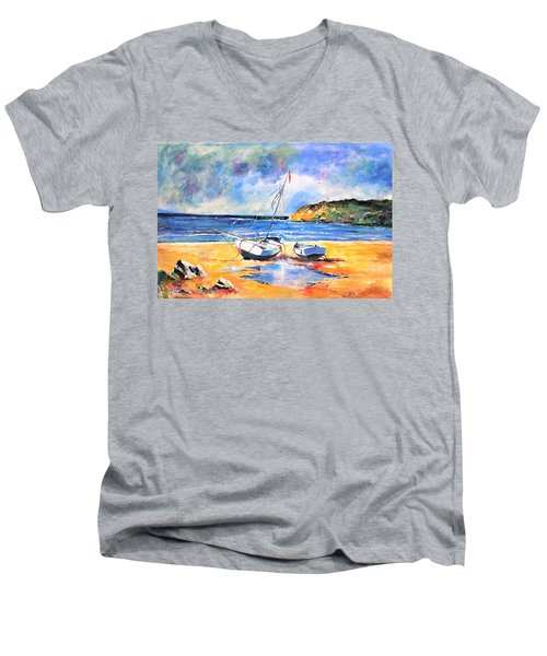 Boats On The Beach Men's V-Neck T-Shirt