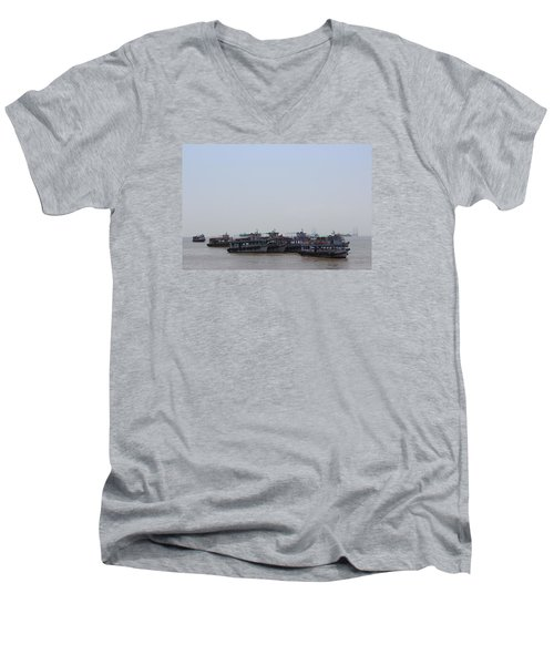 Boats On The Indian Ocean In The Haze Men's V-Neck T-Shirt by Jennifer Mazzucco
