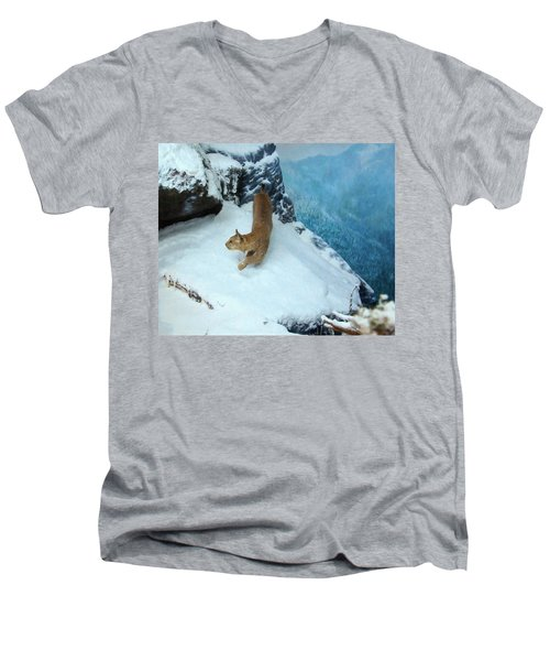 Men's V-Neck T-Shirt featuring the digital art Bobcat On A Mountain Ledge by Chris Flees