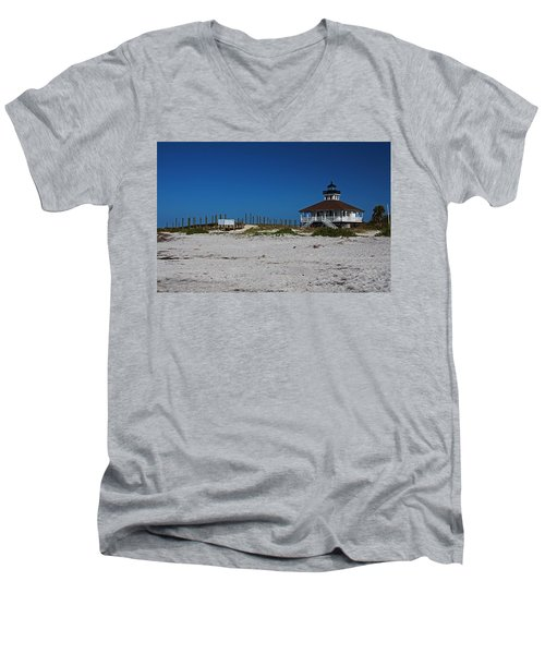 Men's V-Neck T-Shirt featuring the photograph Boca Grande Lighthouse Ix by Michiale Schneider