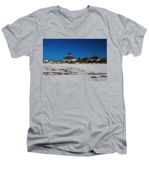 Men's V-Neck T-Shirt featuring the photograph Boca Grande Lighthouse X by Michiale Schneider
