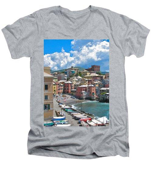 Boccadasse 2-genova, Italy Men's V-Neck T-Shirt