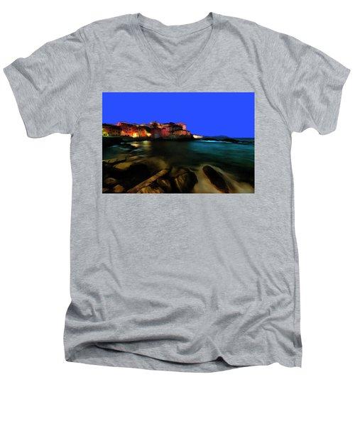 Boccadasse By Night Paint Men's V-Neck T-Shirt