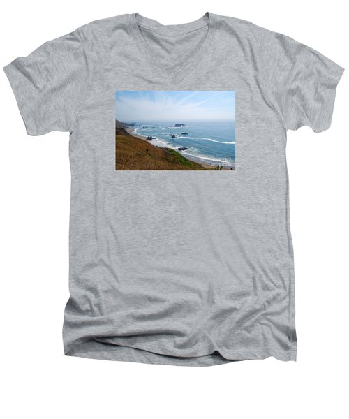 Bodega Bay Arched Rock Men's V-Neck T-Shirt