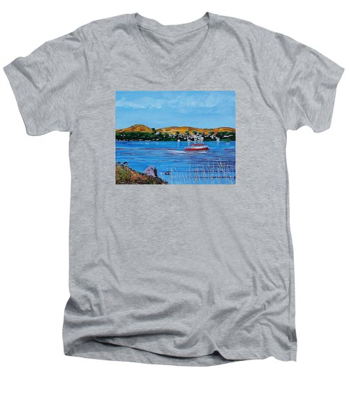 Bodega Bay From Campbell Cove Men's V-Neck T-Shirt by Mike Caitham