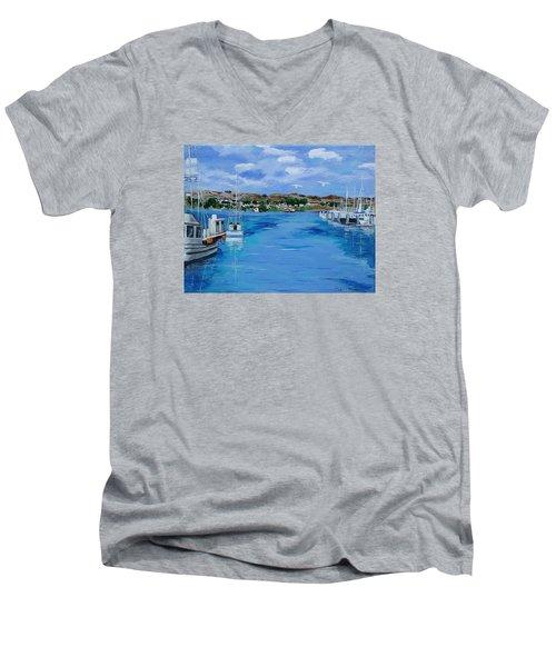Bodega Bay From Spud Point Marina Men's V-Neck T-Shirt by Mike Caitham