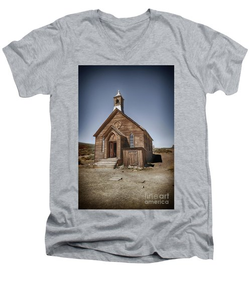 Men's V-Neck T-Shirt featuring the photograph Bodie Church by Jim  Hatch