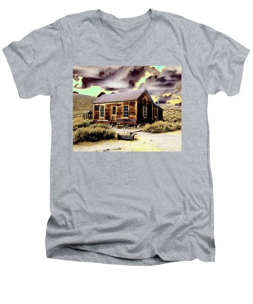 Men's V-Neck T-Shirt featuring the photograph Bodie House by Jim and Emily Bush