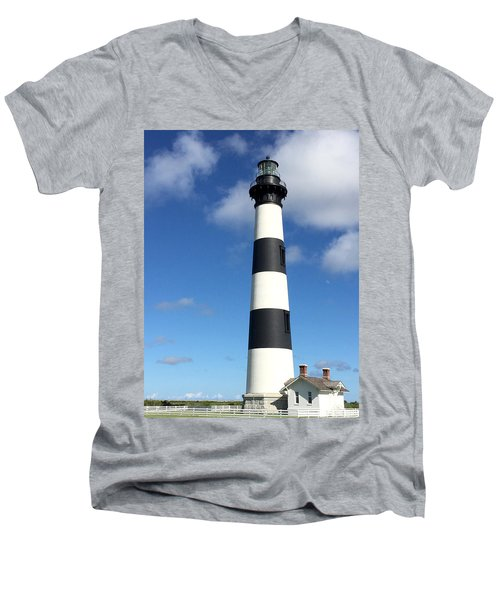 Bodie Island Lighthouse Cape Hatteras Men's V-Neck T-Shirt by Dorothy Maier