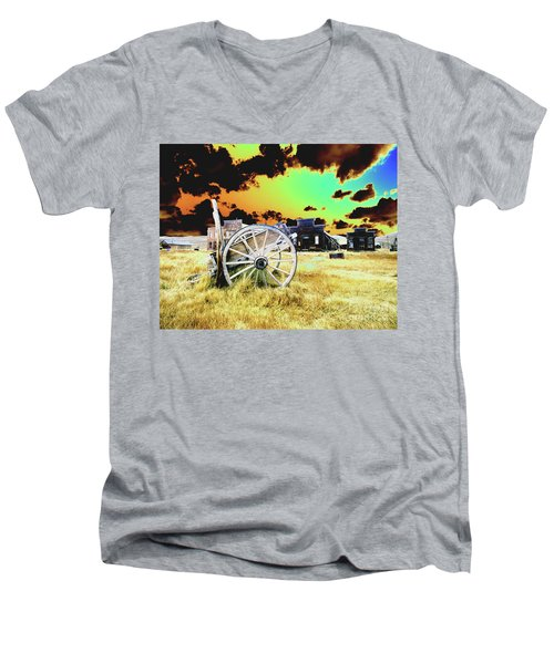 Men's V-Neck T-Shirt featuring the photograph Bodie Wagon by Jim and Emily Bush