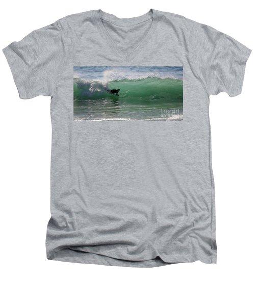 Body Surfer Men's V-Neck T-Shirt by Jim Gillen