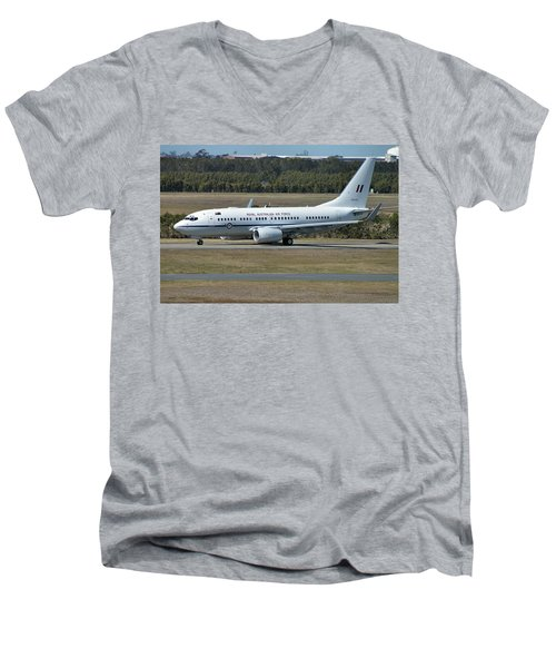 Boeing 737-7dt Men's V-Neck T-Shirt by Tim Beach
