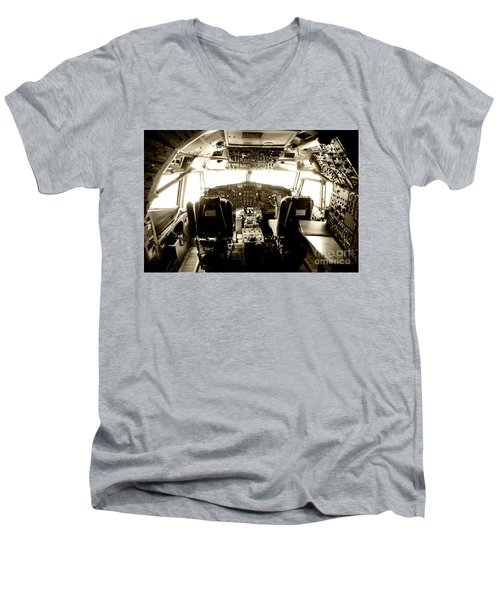Men's V-Neck T-Shirt featuring the photograph Boeing 747 Cockpit 21 by Micah May