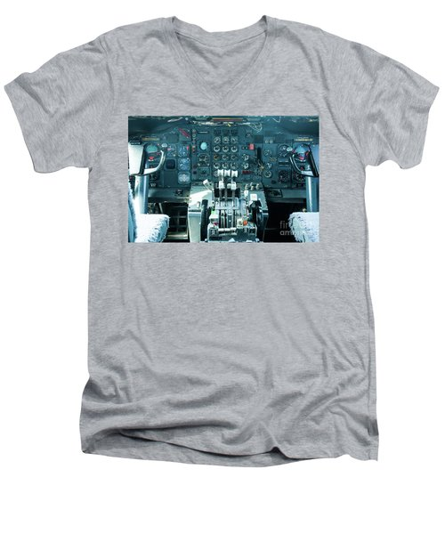 Men's V-Neck T-Shirt featuring the photograph Boeing 747 Cockpit 23 by Micah May