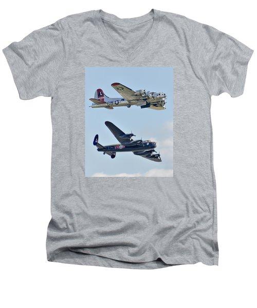 Boeing B-17g Flying Fortress And Avro Lancaster Men's V-Neck T-Shirt by Alan Toepfer