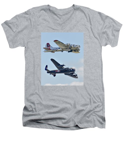 Boeing B-17g Flying Fortress And Avro Lancaster Men's V-Neck T-Shirt