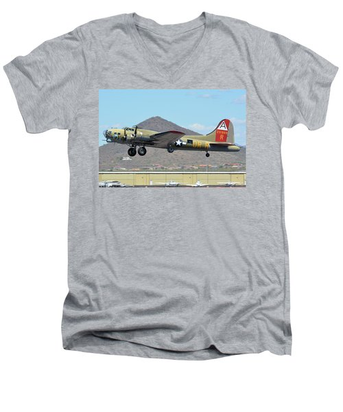 Men's V-Neck T-Shirt featuring the photograph Boeing B-17g Flying Fortress N93012 Nine-o-nine Deer Valley Arizona April 13 2016 by Brian Lockett