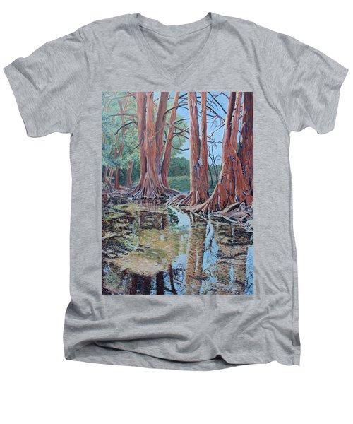 Boerne River Scene Men's V-Neck T-Shirt