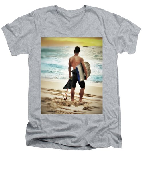 Boggie Boarder At Waimea Bay Men's V-Neck T-Shirt by Jim Albritton