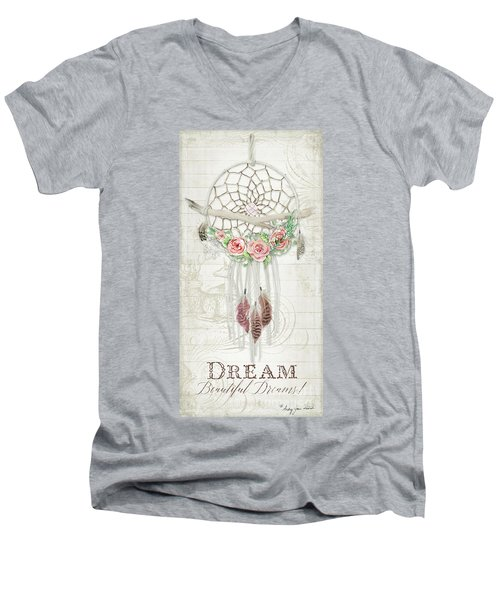 Men's V-Neck T-Shirt featuring the painting Boho Western Dream Catcher W Wood Macrame Feathers And Roses Dream Beautiful Dreams by Audrey Jeanne Roberts