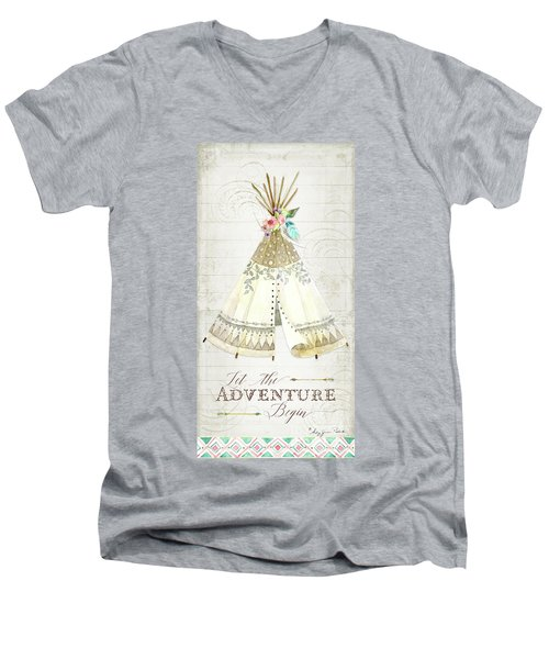 Men's V-Neck T-Shirt featuring the painting Boho Western Teepee With Arrows N Feathers W Wood Tribal Border by Audrey Jeanne Roberts